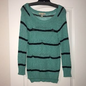 Teal Love By Design Stripe Sweater